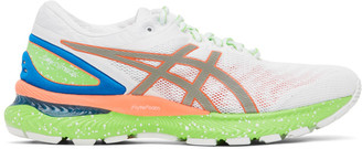 Asics White and Green Gel-Nimbus 22 Lite-Show Sneakers