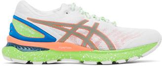 Asics White and Green Gel-Nimbus 27 Lite-Show Sneakers