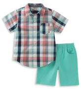 Kids Headquarters Two-Piece Checked Shirt and Solid Shorts Set