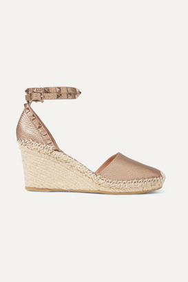 Valentino Garavani Rockstud Double 85 Textured-leather Wedge Espadrilles - Gold