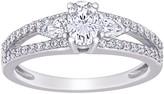 Stella Grace 14k White Gold 1/2 ct. T.W. Lab-Created Mossianite & 1/2 ct. T.W. Diamond 3-Stone Engagement Ring