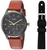 Timex IQ+ Move Leather Strap with Extra Silicone Strap Watches
