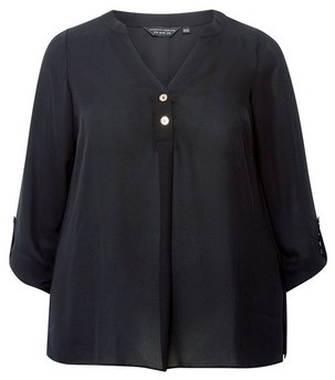 Dorothy Perkins Womens Dp Curve Blacl Roll Sleeve Blouse