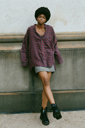 Urban Renewal Vintage Recycled Acid Wash Boyfriend Flannel Button-Front Shirt