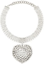 Alessandra Rich Embellished Drop Heart Choker