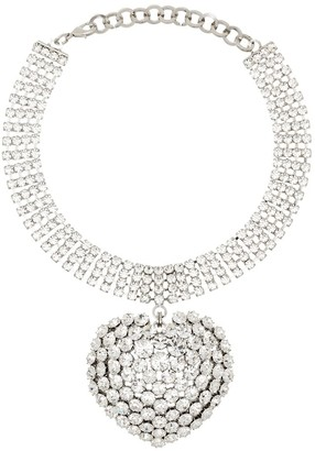 Alessandra Rich Embellished Drop Heart Choker