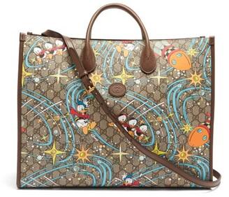 Gucci X Disney Donald Duck-print Canvas Tote Bag - Brown Multi