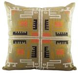 Hand Woven Cotton Cushion Cover in Clay from Guatemala, 'Warmth of Tradition'