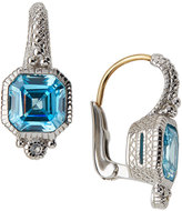 Judith Ripka Estate Asscher-Cut CZ Drop Earrings, Blue