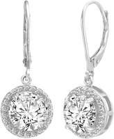 Ever Faith Elegant Round CZ Prong Setting Dangle Wedding Earrings Clear N06045-1