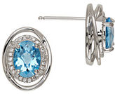 Lord & Taylor Blue Topaz and Sterling Silver Stud Earrings