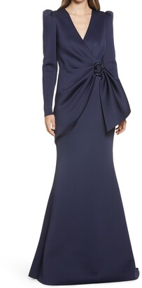 Badgley Mischka Ruched-Waist Gown