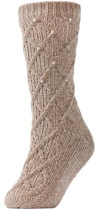 Me Moi Legwear Pearl Lattice Plush -Lined Slipper Socks