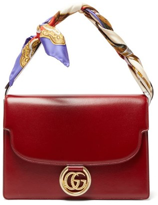 Gucci Gg Ring Silk Scarf-handle Leather Bag - Womens - Red