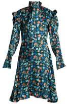 Vetements Floral-print tie-neck silk-satin dress