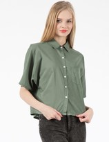 Band Of Outsiders Army Green Batiste Cropped Button Up Shirt