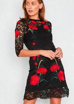 Missy Empire Klara Black Lace Rose Detail Dress