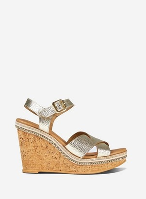 Dorothy Perkins Womens Gold Leather Gold 'Viva' Wedges, Gold