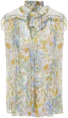 Zimmermann Super Eight Pussy-bow Floral-print Silk-crepon Blouse