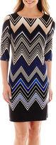 Studio 1 3/4-Sleeve Chevron Print Shift Dress