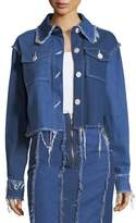 REJINA PYO Tessa Button-Front Frayed Denim Jacket