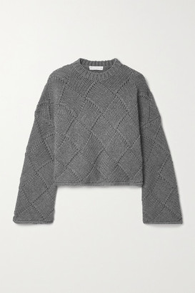 J.W.Anderson Cropped Leather-trimmed Merino Wool-blend Sweater - Gray