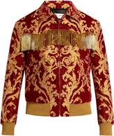 Saint Laurent Fringed-trimmed velvet jacquard jacket