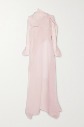 Roland Mouret Panska Draped Cape-effect Silk-blend Organza-jacquard Gown - Blush