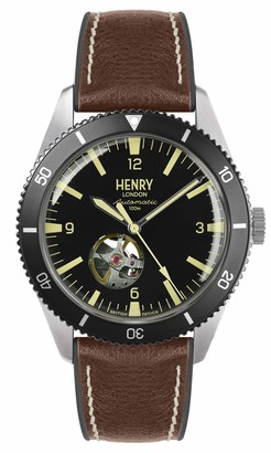 Henry London Mens Skeleton Automatic Watch with Silicone Strap HL42-AS-0331