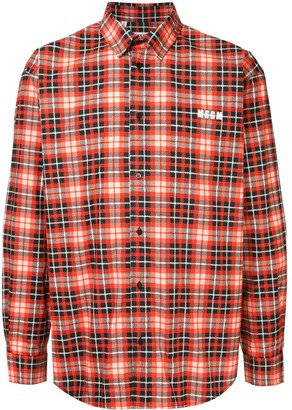 MSGM plaid logo shirt