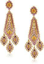 Miguel Ases Large Inverted Kite Center Swarovski Triple Drop Chandelier Post -Drop Earrings