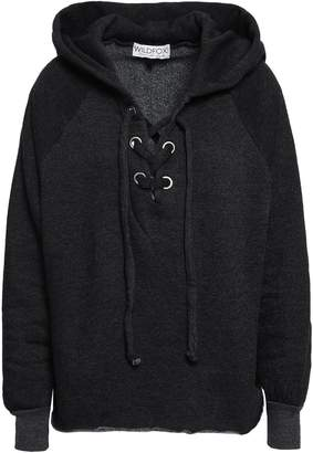 Wildfox Couture Lace-up Cotton-blend Fleece Hooded Sweatshirt