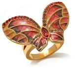 "JAY Jay Strongwater ""Enchanted Garden"" Enamel and Crystal-Accented Goldtone Butterfly Ring"