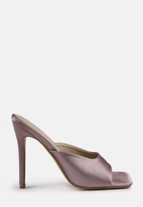 Missguided Lilac Satin Square Toe Mid Heels