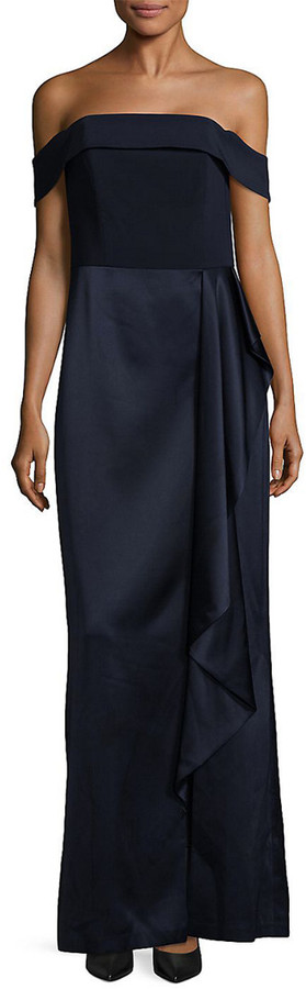 Laundry by Shelli Segal Ruffle Off-The-Shoulder Gown
