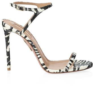 Aquazzura Naked Zebra-Stripe Snakeskin Sandals