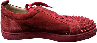 Christian Louboutin Louis junior spike Red Suede Trainers