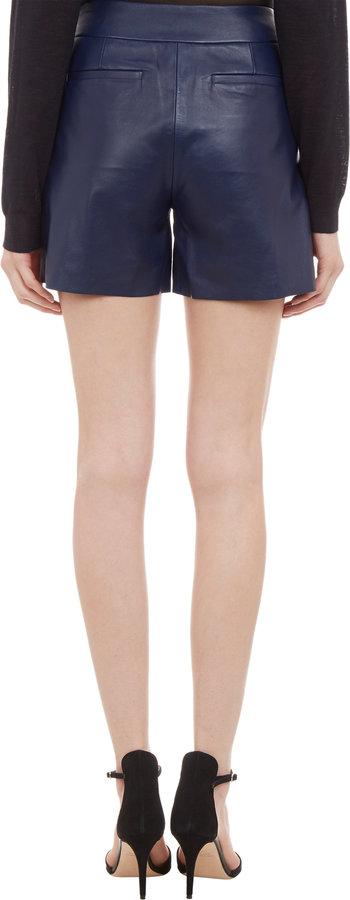 Derek Lam Leather Pleated Shorts