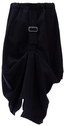 Comme des Garçons Comme des Garçons Gathered Wool Midi Skirt - Navy
