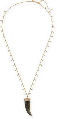 Sydney Evan 14k Large Labradorite Horn & Diamond Shaker Necklace