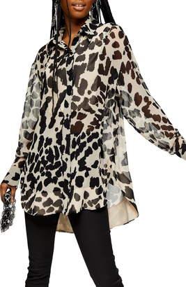 Topshop Animal Print Sheer Oversized Shirt