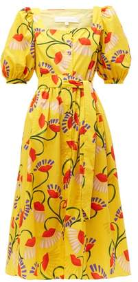 Borgo de Nor Corin Lip & Floral-print Cotton-poplin Midi Dress - Womens - Yellow Multi