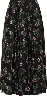 Valentino Floral-print Pleated Silk-chiffon Midi Skirt