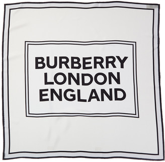Burberry Logo Print Silk Scarf