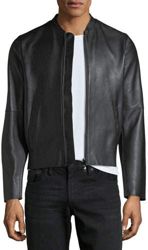 Emporio Armani Napa Leather Bomber Jacket