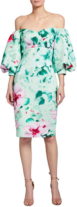 Badgley Mischka Floral Print Off-the-Shoulder Balloon-Sleeve Scuba Dress