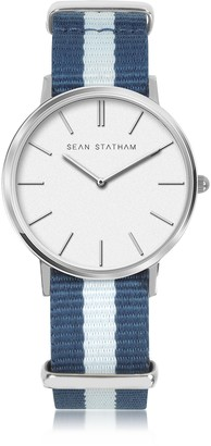 Sean Statham Stainless Steel Unisex Quartz Watch w/Blue Striped Canvas Band