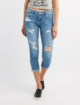 Charlotte Russe Destroyed Cropped Skinny Jeans