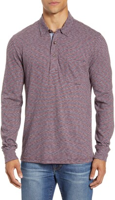 Faherty Brand Luxe Regular Fit Stripe Long Sleeve Polo Shirt
