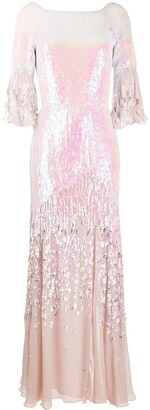 Temperley London Celestial iridescent sequin-embellished gown